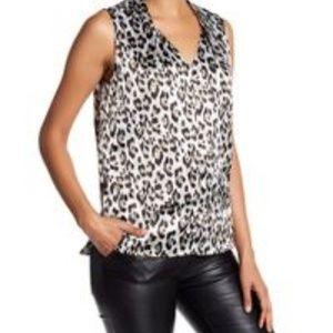 Ann Taylor Animal print ruffle silk blouse